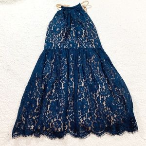 Eliza j lace navy floral fit flare sleeveless dres